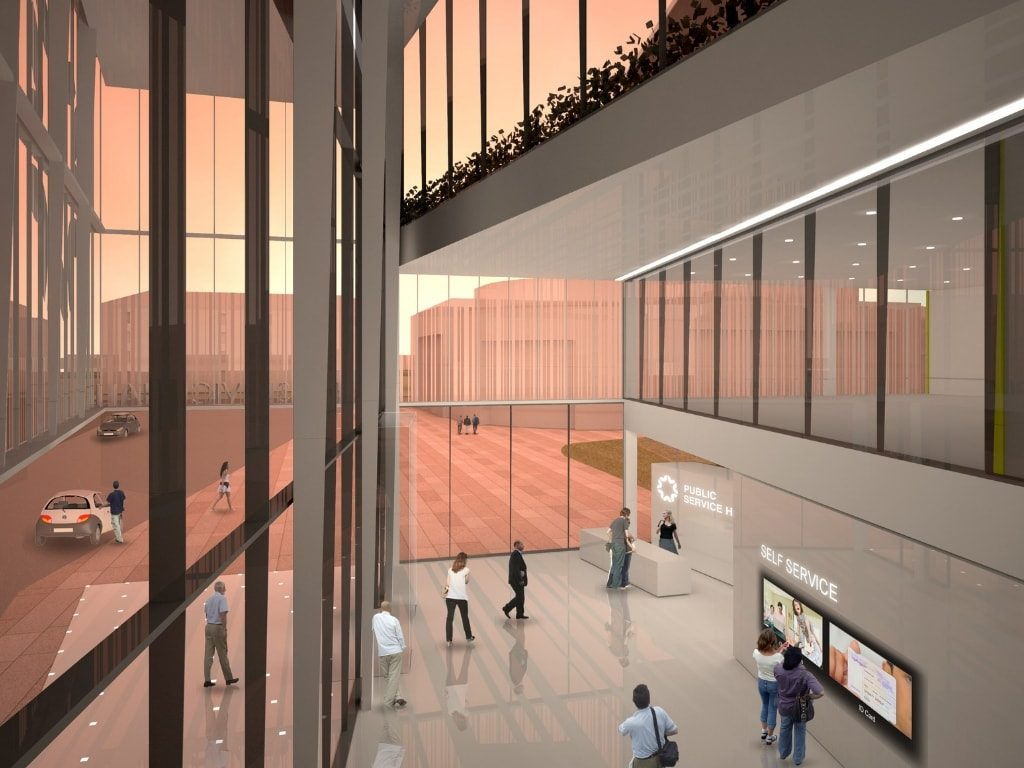 Rendering of Interior Lobby at Poti Public Hall
